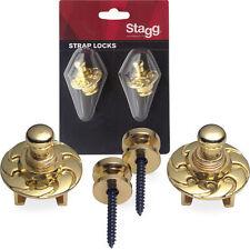 STAGG SSL1 STRAP LOCKS FOR STRAPS GUITAR MANDOLIN BANJO BASS  COLOR GOLD