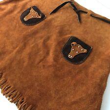 Vintage Suede Western Cow Girl Skirt Fringe Dress up Costume Rodeo Halloween