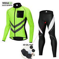 WOSAWE Men's Cycling Jersey&Pants Set Bike Bicycle Jacket Gel Pad Bib Tights