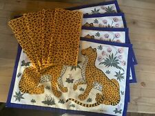 Set of 4 HERMES FRANCE Cotton Placemats & 4 Cloth Napkins Cheetah Pattern RARE