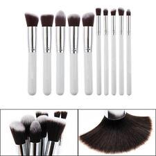 Pro Makeup Brushes 10Pcs/Set Cosmetic Blusher Eye Kabuki Kit Withe Silver Best
