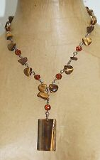 "Chunky Genuine Cat Eye Stone Pendant Glass Beads 21"" Necklace"