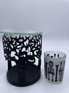 SKELETON small glass votive holder & Oil- Melts Burner PARTY LITE Halloween