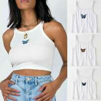 Sexy Women Butterfly Print White Tank Tops Sleeveless Tank Top Vest Crop Tops
