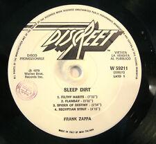 "FRANK ZAPPA  ""SLEEP DIRT""  lp Italy promo white label near mint"
