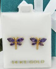 Deep Purple AMETHYST STUD DRAGONFLY EARRINGS 14K YELLOW GOLD* NWT