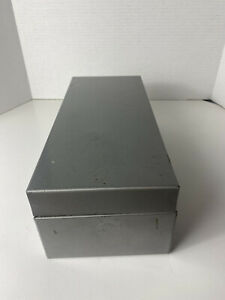 "Vintage 13"" x 5.5"" Gray METAL Index HINGED File STORAGE BOX Stamped with 1353"