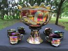 Northwood PEACOCK AT THE FTN ANTIQUE CARNIVAL GLASS COMPLETE PUNCH SET~PURPLE!