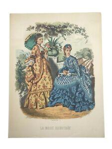 VTG Victorian Print La Mode Illustree Leroy imp. Paris 5 Family Heirloom