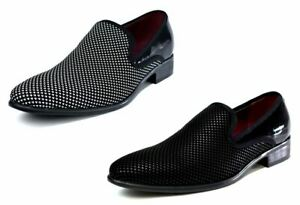 MENS DRESSY SHINY SLIP ON OFFICE WORK WEDDING SMART PARTY SHOES - 2 SHADE