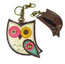 Chala Hoot Owl Key Chain Coin Purse Leather Bag Fob Charm New