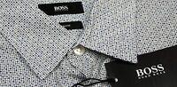 NWT $145 Hugo Boss Slim Fit White Blue Shirt Mens M  XL Short Sleeve Cotton NEW