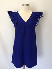 New JCREW COLLECTION Petite ruffle-shoulder sheath dress Blue Sz 2 G6654