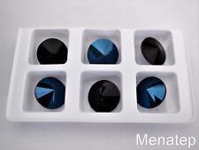 4(Four)  14 mm Rivoli Beads: Blue Iris - Jet
