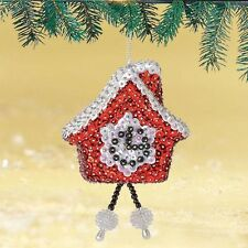 """""""Christmas Time"""" Kit makes 2 Ornaments clock Beads, Sequins, red, white 3"""""""