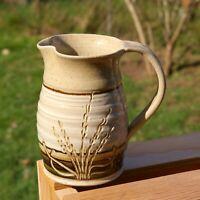 """Hand Spun Pottery Art Pitcher Wheat Grass 4 7/8"""" Tall Signed by Artist"""