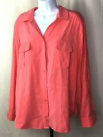 Chicos Womens Pink Blouse Size 3 Button Down Long Sleeve Shirt