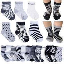 6 Pairs Assorted Non Skid Ankle Cotton Socks Baby Toddler Anti Slip Stripes Star