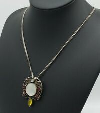 Big Chunky SILVER & Gemstones Pendant Necklace Garnet Moonstone & MOP. 27.6 gms