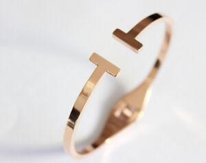 Women Stainless Steel 14K Rose Gold T Cuff Open Bangle Bracelet Jewelry Letter