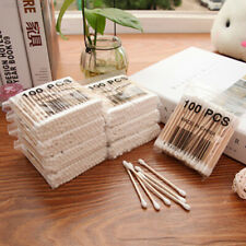 7A38 100x Double-head Wooden Cotton Swab For Medical Make-up Stick Nose Ears