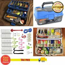 READY 2 FISH TACKLE BOX WITH FISHING ACCESSORIES KIT TOOL FULL LOADED LURE PARTS