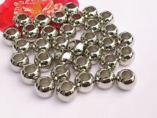 25 x Silver Chunky Round Spacer 9mm  Large Hole 5.5mm New! *Free p&p *