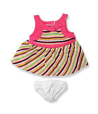 "Multi striped dress & knickers outfit teddy bear clothes fits 15"" Build a Bear"