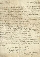 Lettera Prefilatelica al Canonico Buonamici dal Fratello Anziano Napoli 1819