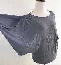 Vivienne Tam Gray Batwing Dolman Sleeve Shirt Top Draped Flattering M