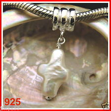 925 AAA REAL CROSS PEARL Bead Fits European Charm Bracelet Australia Seller 153