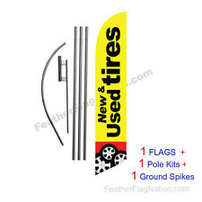 New and Used Tires (ylw) 15' Feather Banner Swooper Flag Kit with pole+spike