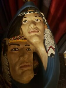 Rare! Vintage American Indian Couple Hand Made/Painted 2 Ft, 3D Art Table Lamp!