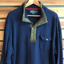 VTG Polo Ralph Lauren Blue 1/2 Zip Button Sweat Shirt Jacket 2XB 2XL Big