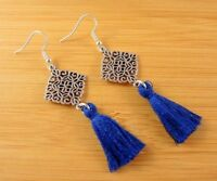 Bohemian Pair of Tibetan Style Dangle Earrings with Dark Blue Cotton Tassel#1289