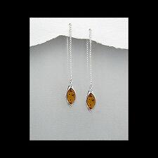 Tear Drop Amber Stone Earrings Chain Threaded Solid Sterling Silver Earrings