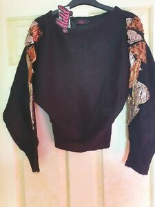 Motel Rocks  jumper with metallic patches to sleeves S