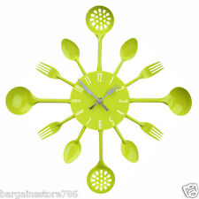 STYLISH RETRO METAL LIME GREEN CUTLERY WALL MOUNTED CLOCK SPOON FORK ANALOGUE