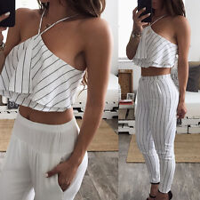 Women Sleeveless Loose Stripe Ruffle Backless Summer Beach Crop Top Blouse M