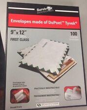 9 x 12 White Survivor Tyvek First Class Envelopes 100/Box FREE SHIPPING CHEAPEST