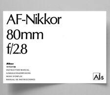 Nikon AF-Nikkor 80mm F2.8 AiS Instruction Manual photocopy multi-language