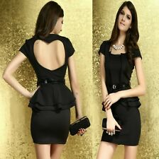 Sz 12 14 Black Peplum Cap Sleeves Cocktail Office Sexy Party Dance Formal Dress