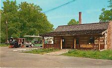 c1950 Log Cabin Tourist Center, Vincennes, Indiana Postcard
