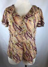 LANE BRYANT Plus Size 14 16 Top Shirt Blouse GOLD METALLIC BOHEMIAN KHAKI PURPLE