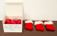 1977 VINTAGE CHRISTMAS ORNAMENTS - 5 SATIN BALLS, 3 MINIATURE STOCKINGS