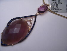 Estate 18K Rose Gold Amethyst Ametrine Sapphire Diamond Pendant Necklace