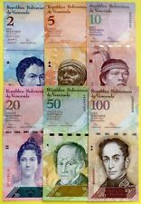VENEZUELA 2007 2015 SET 2 5 10 20 50 100 Bolivars COLOURFUL UNCIRCULATED NOTES