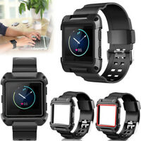 Black Armor Replacement Large Wristband Watch Band Strap+Frame for FITBIT BLAZE
