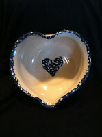 THE GENUINE MARSHALL POTTERY TOMMY HUMPHRIES HEART SHAPED BOWL W HEART DESIGNS