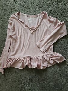Justice Mauve Long Sleeve Ruffle Bottom Shirt Size 14